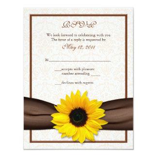 Sunflower Damask Floral Wedding Response Card 11 Cm X 14 Cm Invitation Card