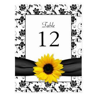 Sunflower Damask Wedding Table Card Postcard