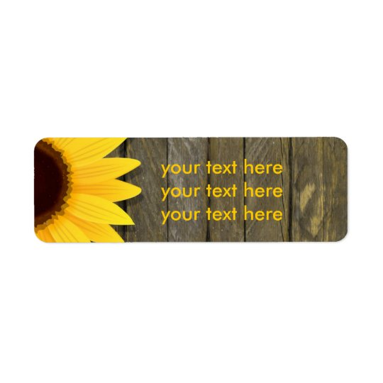 Sunflower Dark Wood Rustic Country Address Labels