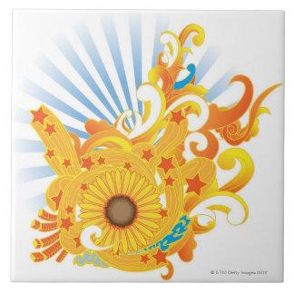 Sunflower Design Ceramic Tile