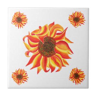 Sunflower design decorative tile