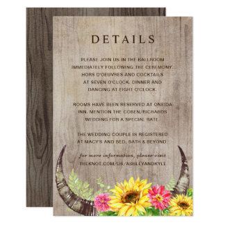 Sunflower Details Card on Wood with Horns