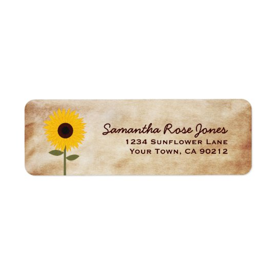 Sunflower Distressed Paper Look Custom Address Return Address Label