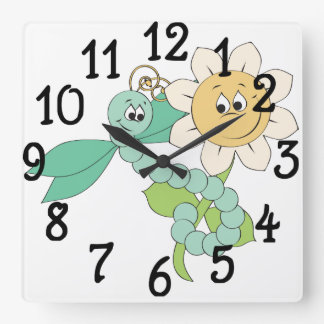 Sunflower Dragonfly Clock