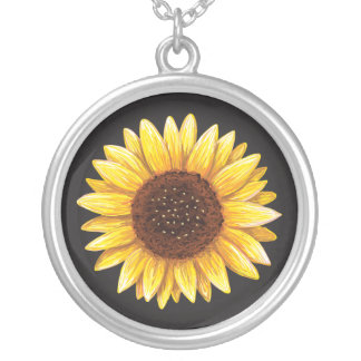 Sunflower drawing silver necklace