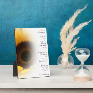 Sunflower Dream Poem Photo Plaque
