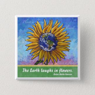 Sunflower Earth Art 15 Cm Square Badge