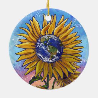 Sunflower Earth Art Ceramic Ornament