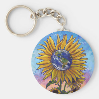 Sunflower Earth Art Key Ring