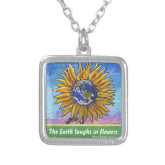 Sunflower Earth Art Silver Plated Necklace