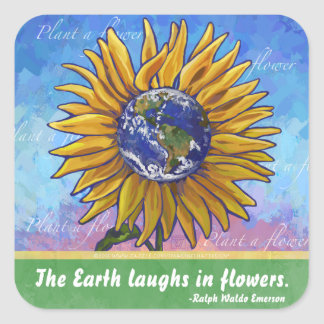 Sunflower Earth Art Square Sticker