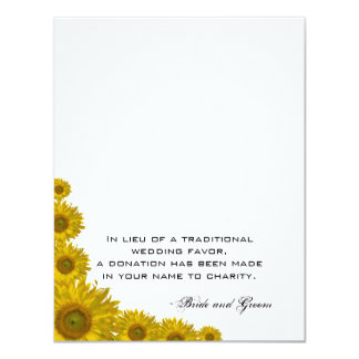 "Sunflower Edge Wedding Charity Favor Card 4.25"" X 5.5"" Invitation Card"