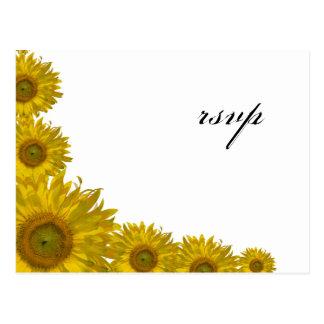 Sunflower Edge Wedding RSVP Response Postcard