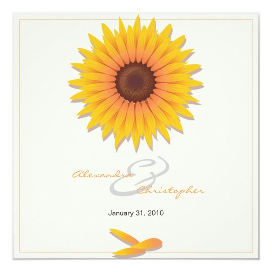 Sunflower Elegant Wedding Invitation Announcement