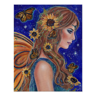Sunflower fairy with butterflies art by Renee Poster