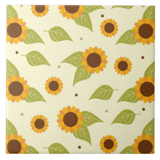 Sunflower Fall Autumn Pattern Large Square Tile