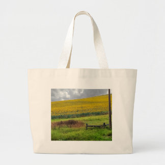 Sunflower Farm, wooden fence & phone pole Large Tote Bag