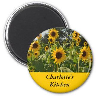 Sunflower Field 6 Cm Round Magnet