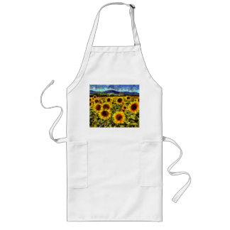 Sunflower Field Van Gogh Long Apron