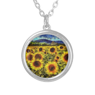 Sunflower Field Van Gogh Silver Plated Necklace