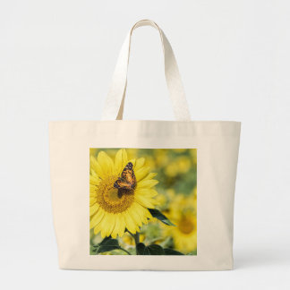 Sunflower Field with Butterfly Tote Jumbo Tote Bag