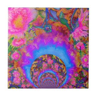 Sunflower fields forever - pink ceramic tile