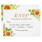 Sunflower Floral Baby's Breath Rustic Wedding RSVP Card