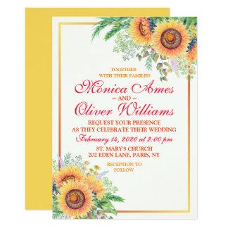 Sunflower Floral Stylish Script Wedding Invitation