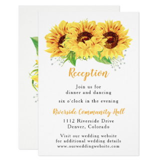 Sunflower Floral Wedding Reception Insert Card