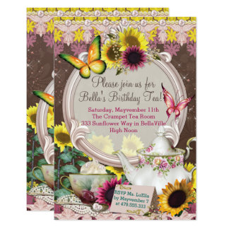 Sunflower Garden Tea Party Invitation