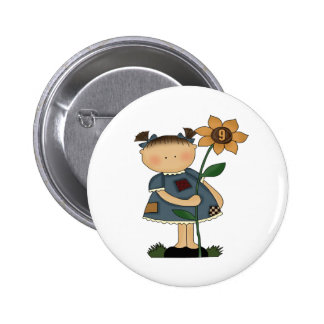 Sunflower Girl 9th Birthday Gifts Pin