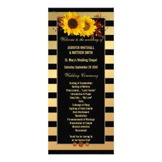 Sunflower Gold Striped Wedding Program Template Rack Card