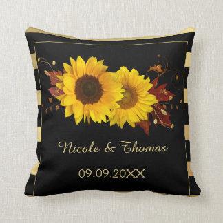 Sunflower Gold Wedding orAnniversary Pillow
