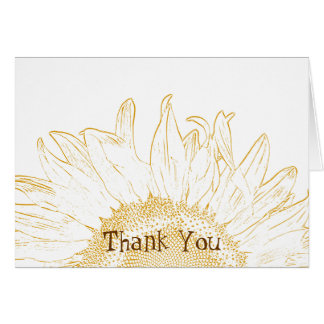 Sunflower Graphic Bridesmaid Thank You Note Card