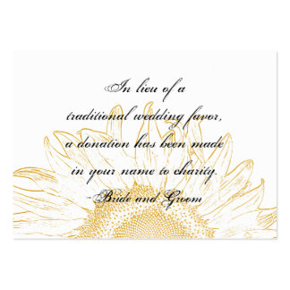 Sunflower Graphic Wedding Charity Favor Card Business Card Template