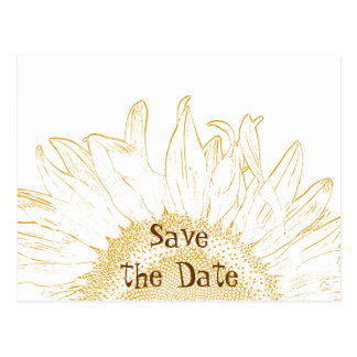 Sunflower Graphic Wedding Save the Date Postcard