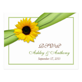 Sunflower Green Ribbon Wedding RSVP Reply Postcard