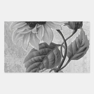 Sunflower Helianthus Monochrome Rectangular Sticker