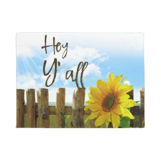 Sunflower Hey Y'all Doormat