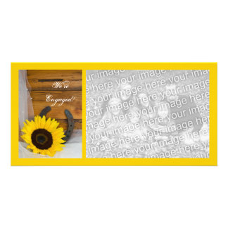 Sunflower Horseshoe Country Engagement Announce Photo Greeting Card