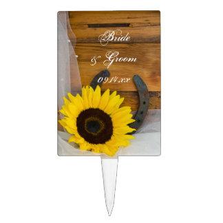 Sunflower Horseshoe Country Wedding Cake Topper