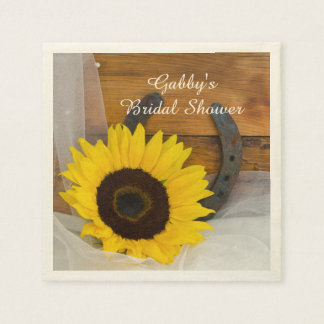 Sunflower Horseshoe Country Western Bridal Shower Paper Napkins