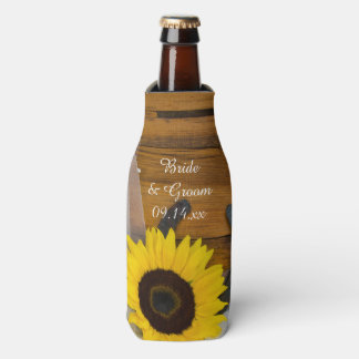 Sunflower Horseshoe Country Western Wedding Favor Bottle Cooler