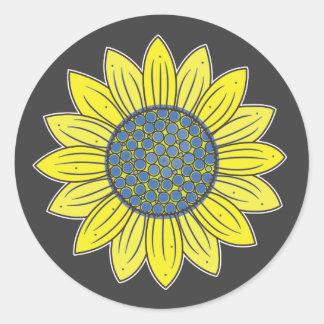 Sunflower Illustration Classic Round Sticker