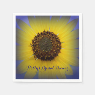 Sunflower in Blue Personalized Paper Napkins