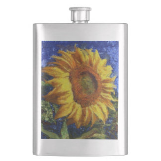 Sunflower In Van Gogh Style Hip Flask