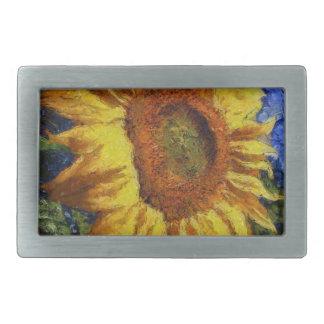 Sunflower In Van Gogh Style Rectangular Belt Buckle