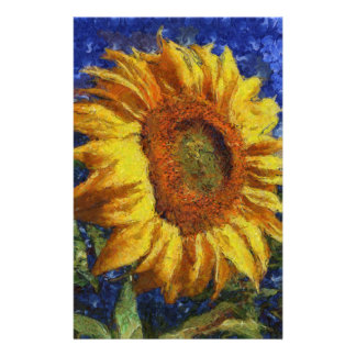 Sunflower In Van Gogh Style Stationery