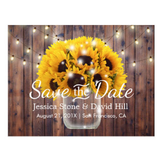 Sunflower Jar Rustic Barn Wedding Save the Date Postcard