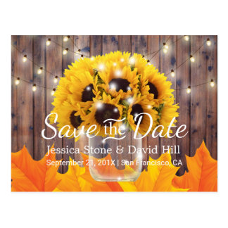 Sunflower Jar Rustic Fall Wedding Save the Date Postcard